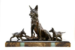 Large Art Deco Shepherd Dog with Playful Puppies Sculpture