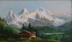 Chalet in the Mountains, Oil on Canvas