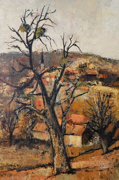 Michel Jouenne, Village of Provence, Oil on Canvas, Early 1960s