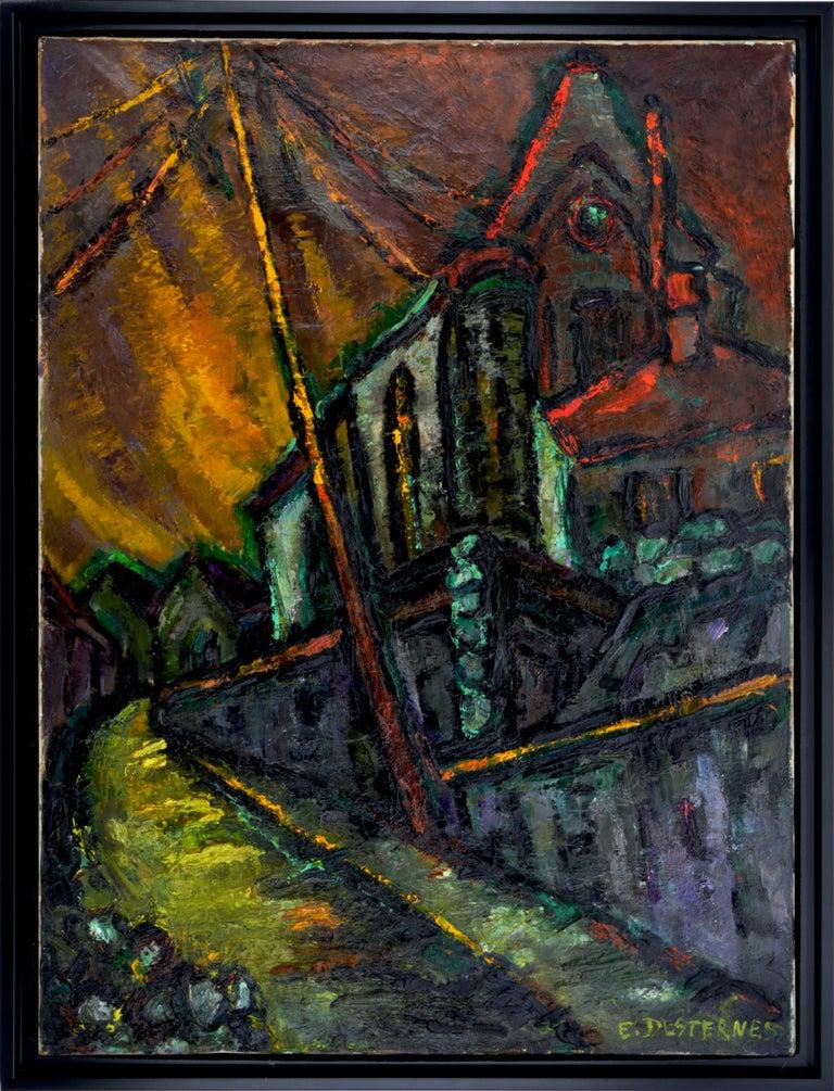 Edith Desternes Figurative Painting - The Church Notre-Dame de l'Assomption in Auvers-sur-Oise