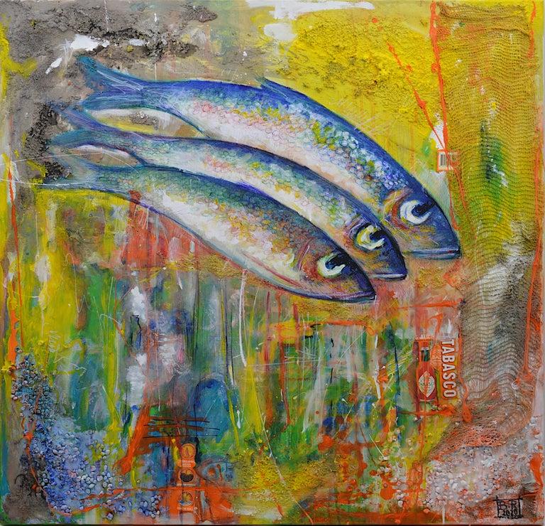 Bertrand Raymond, Mixed Media on Canvas, Sardines number #4, 2020, Fish - Painting by Bertrand Raymond