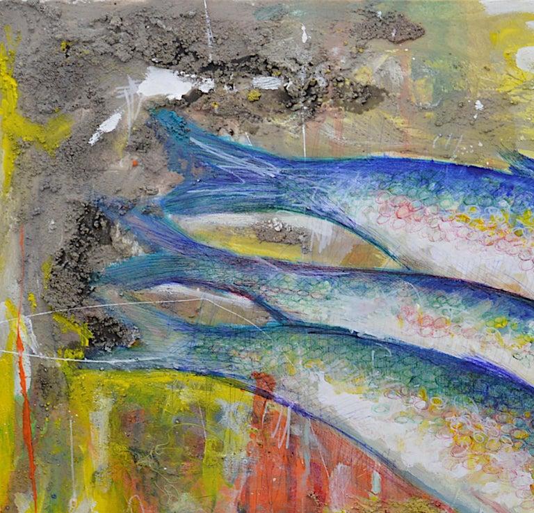 Bertrand Raymond, Mixed Media on Canvas, Sardines number #4, 2020, Fish - Street Art Painting by Bertrand Raymond