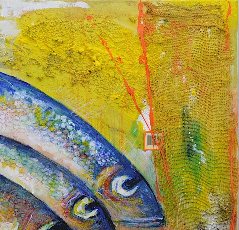Bertrand Raymond, Mixed Media on Canvas, Sardines number #4, 2020, Fish - Brown Figurative Painting by Bertrand Raymond