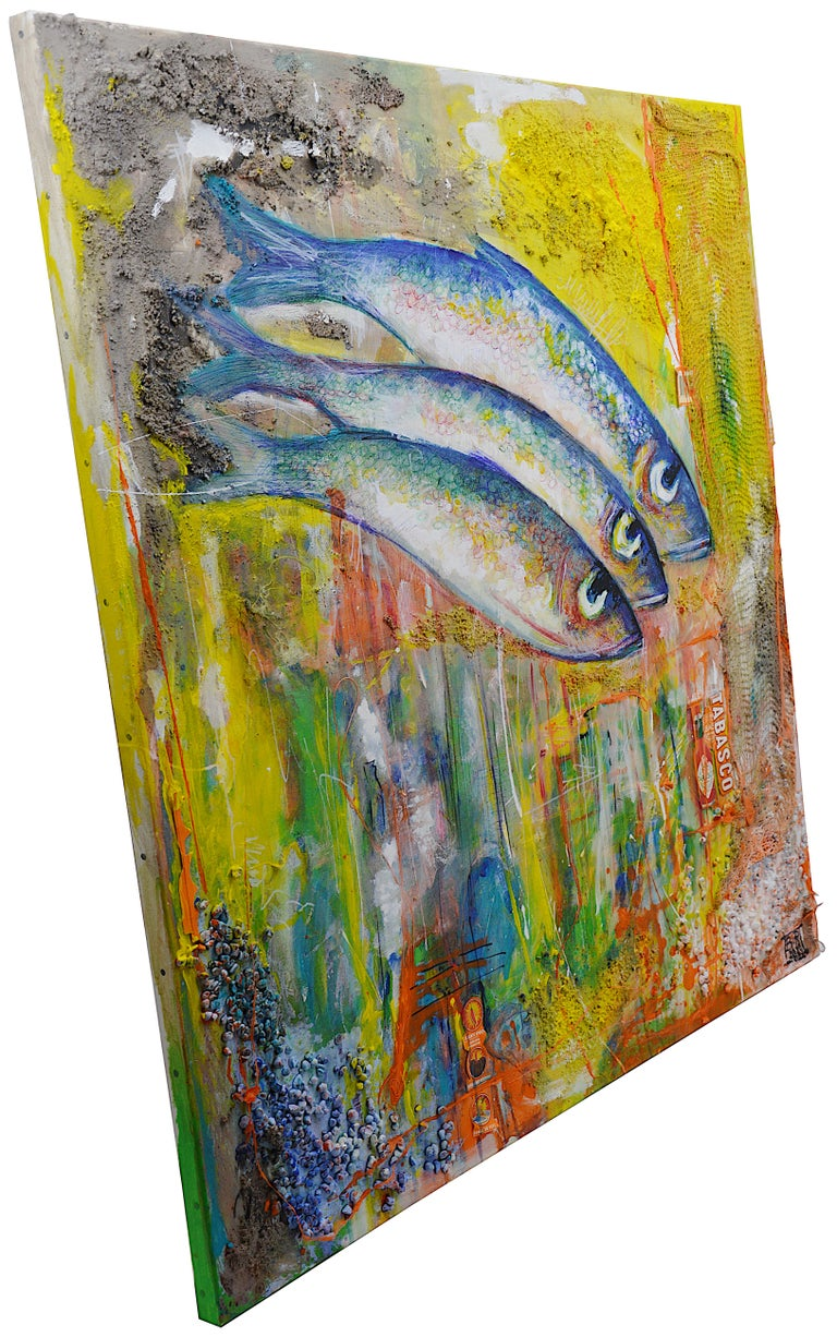 Bertrand Raymond, Mixed Media on Canvas, Sardines number #4, 2020, Fish For Sale 2
