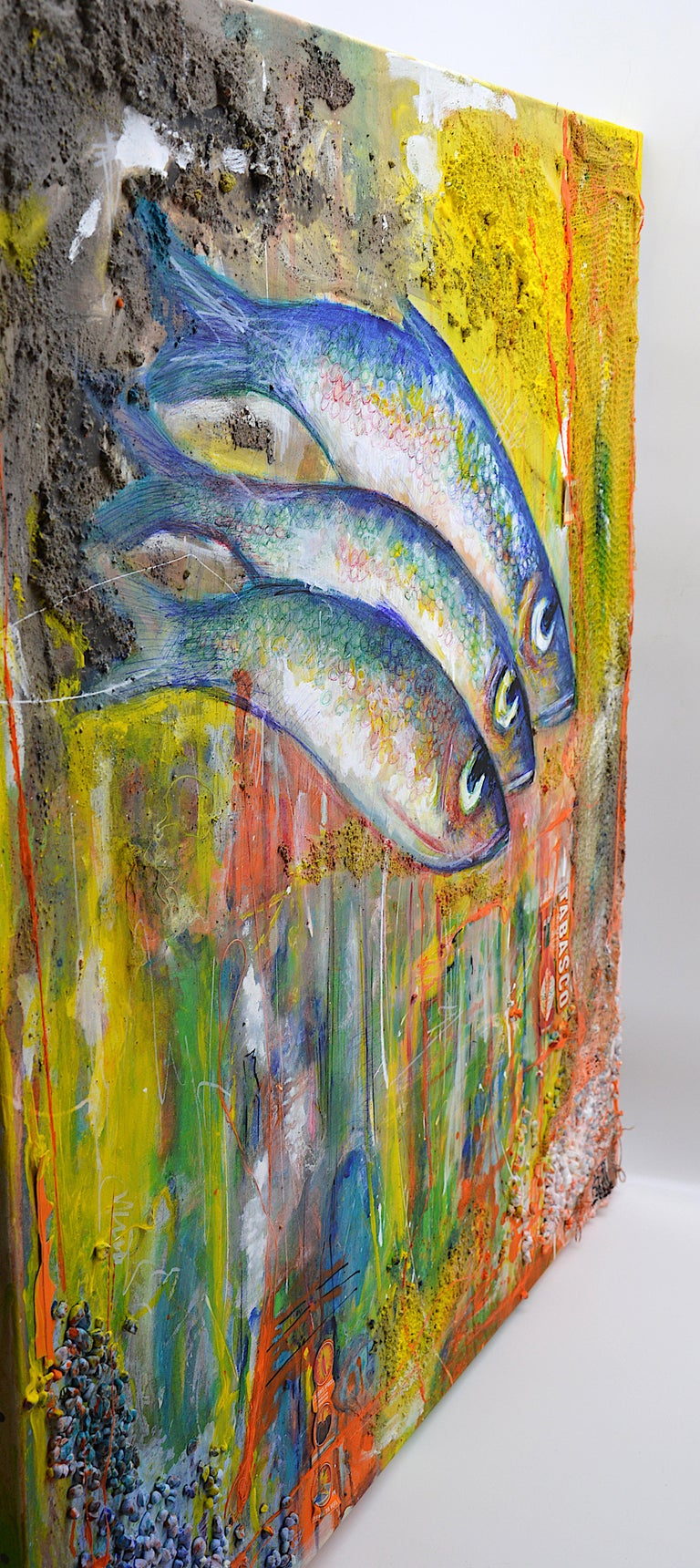 Bertrand Raymond, Mixed Media on Canvas, Sardines number #4, 2020, Fish For Sale 3