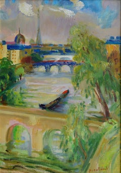 Paul Collomb, Paris, Eiffel Tower, Invalides, The Beautiful View, Oil on Canvas