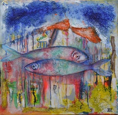 Bertrand Raymond, Mixed Media on Canvas, Sardines number #1, 2020, Fish