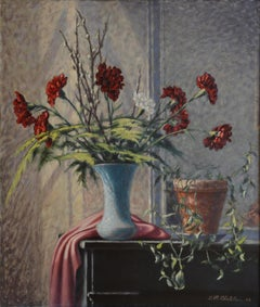 Jean-René Chatelain, Carnation Vase, Oil on Canvas