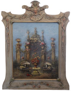 Architectural and Floral Composition, Oil on Canvas