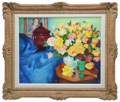 Roger Halbique, Oil on Canvas, Still Life with Roses, 1950s