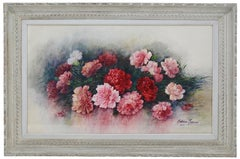 Madeleine RENAUD, Watercolor, The Wreath Of Carnations