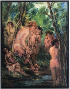 Bathers, Large Oil on Canvas, 1930s