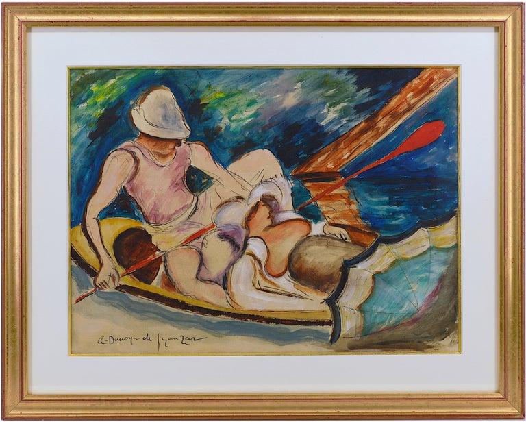 "André Dunoyer de Segonzac Figurative Art - ""Boating on the Morin River"""