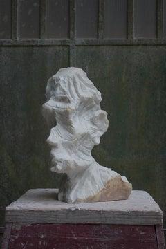 Peculiar Head no.4 a contemporary Sculpture in Italian Statuario MARBLE