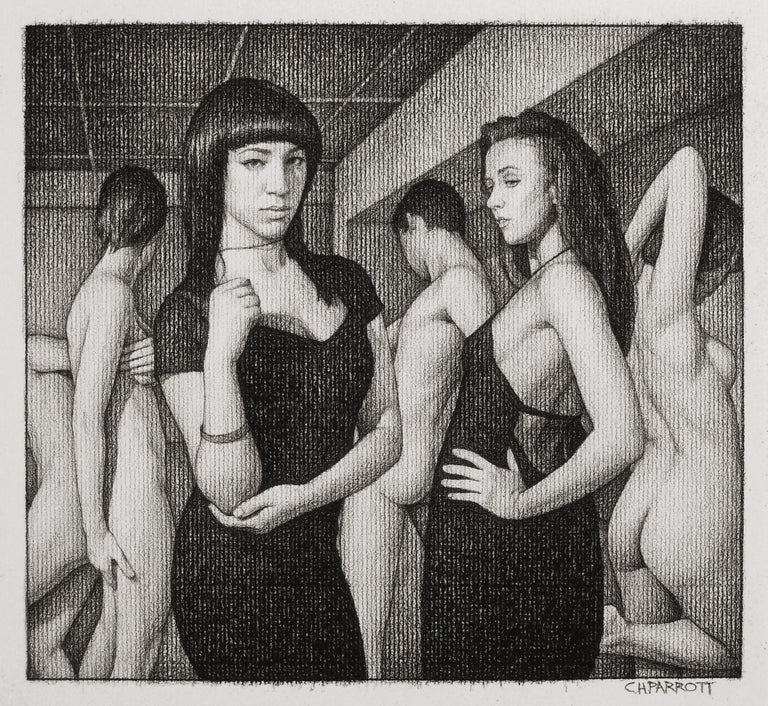 OLYMPIA - framed charcoal drawing 1