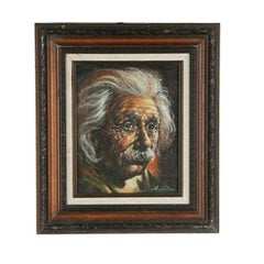 "Anthony Sidoni ""Albert Einstein""  Signed Oil on Canvas 15 1/2""x13 1/2"""