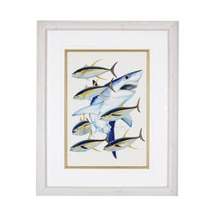 Guy Harvey Watercolor on paper Mako Shark with Yellow Fin Fish Signed