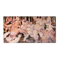 """Joanne Battiste Oil on Canvas """"Nudes Dancing in the Forest"""" 48 in. x 24 in."""