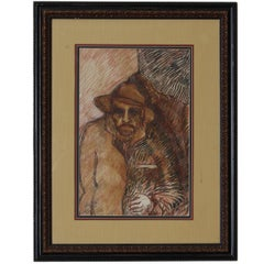 Manuel Valles Gomez Charcoal and Painting Lot of 2