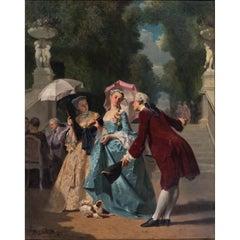 Joseph Caraud, 19th Century French Romantic Scene Oil on Canvas
