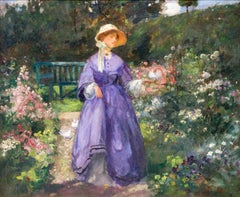 Lady in purple dress in the garden , 19th Century impressionist style