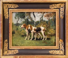 Geroges-Frédéric Rotig French, Two Hunting Dogs, Early 20th Century, Oil on Wood