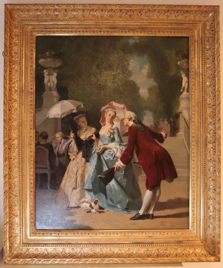 Joseph Caraud, 19th Century French Romantic Scene Oil on Canvas For Sale 4