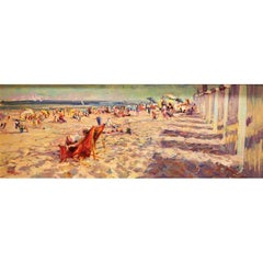 Leon Holmes, Oil on Canvas Beach Scene