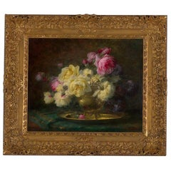 19th Century, Oil on Canvas Flower Painting, André Benoît Perrachon