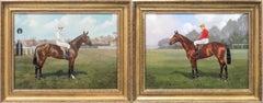 Pair of portraits of 2 jockeys and racehorses