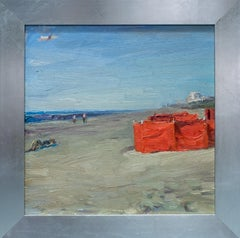 Impressionistic style Beach scene in Orange