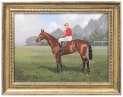 Portrait of jockey and racehorse