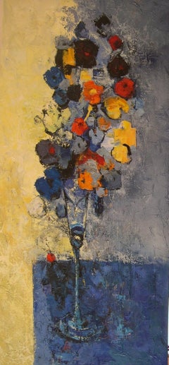 Flors amb una Cirera - 21st Century, Contemporary, Still Life, Oil Painting