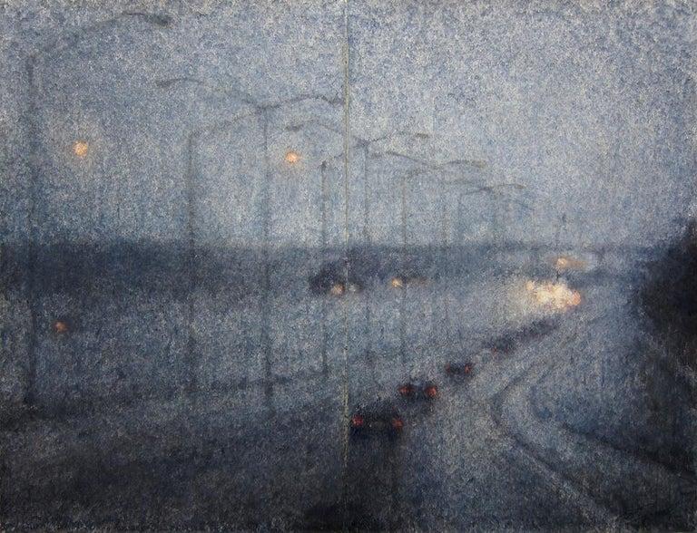 Ekaterina Smirnova Landscape Art - Right Turn into the Dusk - 21st Cent, Contemporary, Landscape, Watercolor, Paper