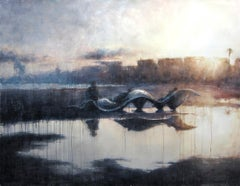 Watching the Sunset - 21st Century, Contemporary, Landscape, Watercolor on Paper