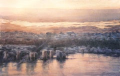 New Jersey Sunset - 21st Century, Contemporary, Landscape, Watercolor on Paper