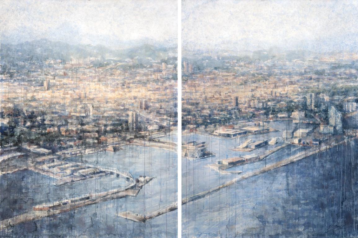 Los Puertos de Barcelona - 21st Cent, Contemporary, Landscape, Watercolor, Paper