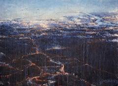 Awakening Barcelona - 21st Century, Contemporary, Landscape, Watercolor on Paper