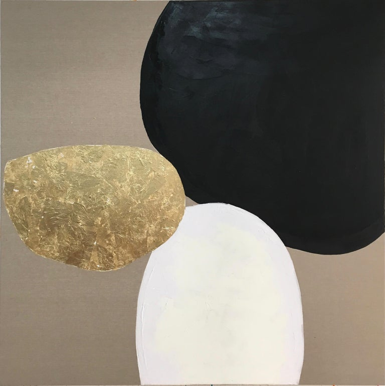 """Oil and gold leaf on Italian linen  The art critic Alex Bahna said that Chelsea wanted to bring out the whole harmonious, elemental process in her work, or as she puts it: """"Make something beautiful and delicate out of something as uncompromising as"""