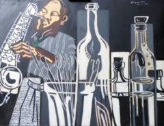 Músic a l'Estudi - 21st Century, Contemporary Painting, Jazz Musician Portrait