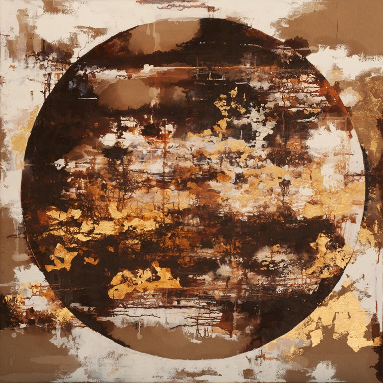 Oil and gold leaf on Italian canvas  For centuries, artisans and artists have turned to gold leaf as a way to make their creations shimmer and shine. Also many contemporary artists continue to use gold leaf in their work, and so does Chelsea Davine,