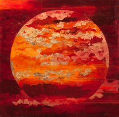 Autumn Dusk Moon - 21st Century, Contemporary, Abstract Oil Painting, Gold Leaf
