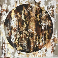 Meridian with Gold - 21st Cent, Contemporary, Abstract Oil Painting, Gold Leaf
