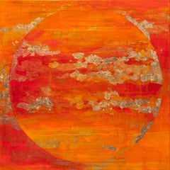 Spring Moon - 21st Century, Contemporary, Abstract Oil Painting, Gold Leaf