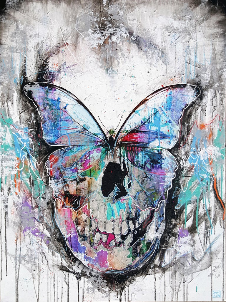 Danny O'Connor Figurative Painting - Butterfly Skull - 21st Century, Contemporary Painting, Modern Art, Portrait