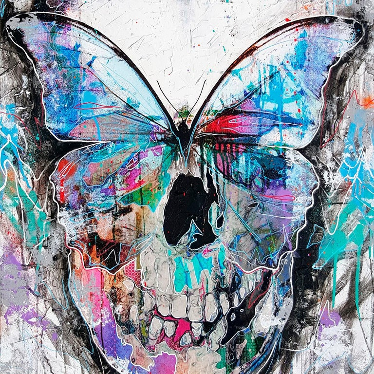 Butterfly Skull - 21st Century, Contemporary Painting, Modern Art, Portrait - Gray Figurative Painting by Danny O'Connor