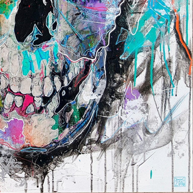 Butterfly Skull - 21st Century, Contemporary Painting, Modern Art, Portrait For Sale 1
