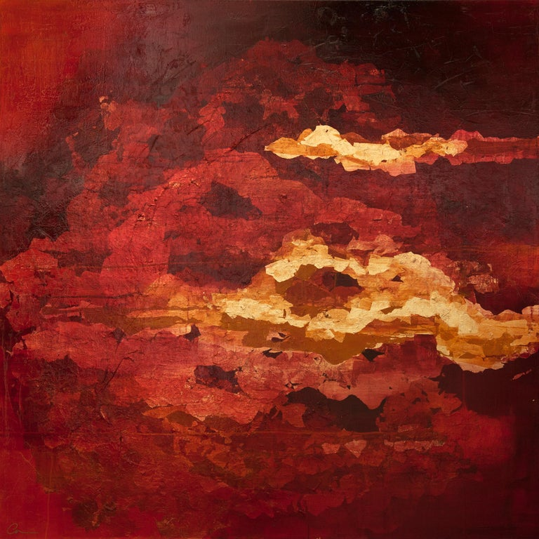 Into the Heart with Gold - 21st Century, Contemporary, Oil Painting, Gold Leaf - Mixed Media Art by Chelsea Davine