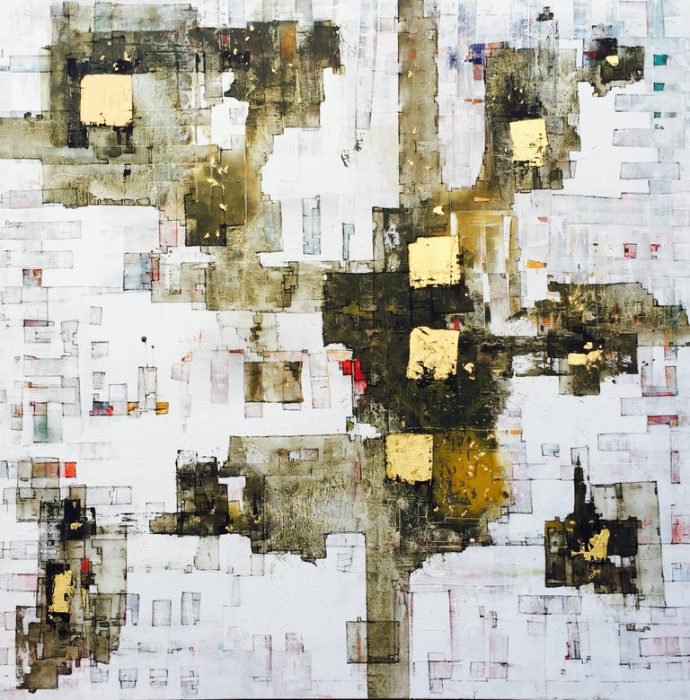 Oil, acrylic and gold on canvas  In his recent works Andrés Mariani is exploring shapes, symbols and colours as inspiration of life. His art works express emotion and reflection. The melting point where causes and consequences meet presented on
