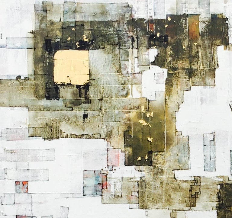 Important Style - 21st Century, Contemporary, Abstract Painting, Gold Leaf For Sale 1